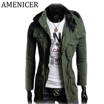 Mens Long Trench Coat With Hood Windbreakers Cotton Tracksuits Long Man Mostly Spring Jackets Raincoat Overcoat Male Slim Park