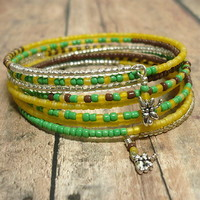 Dragonfly Multi-Wrap 8 Strand BOHO Handmade Green and Yellow Bracelet