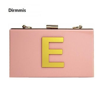 2018 New Wallet letters brand fashion evening bag Woman Cute Acrylic Pink evening bag luxury noble shoulder bag elegant Clutch