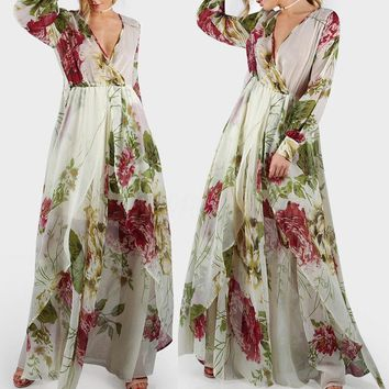 Plus S-5XL Women's V Neck Floral Long Sleeve Party Evening Cocktail Maxi Dress