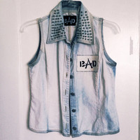 Spiked Vest // Punk Vest // Studded // Punk Patch // Back Patch // Cat Skeleton // Bleach // Acid Wash // Size Small