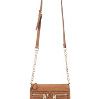 Small Zip Pocket Crossbody Bag - Brown