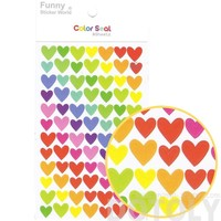 Classic Rainbow Colored Heart Shaped Stickers for Scrapbooking and Decorating | 6 Sheets