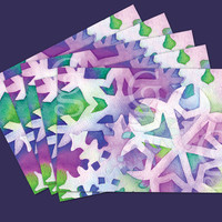 Go Green! 5 HAND PAINTED printed Christmas Snowflake Greeting Card Postcard, Cardstock - CHEAPER stamps - Blue purple green Graphic Design