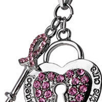 Unlock the Cure Pink Ribbon Crystal Necklace