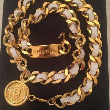 Sale! Iconic Chanel Vintage White & Gold Toned Chain Belt 28''
