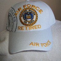 U S Air Force (Retired) new White ballcap w/free shipping