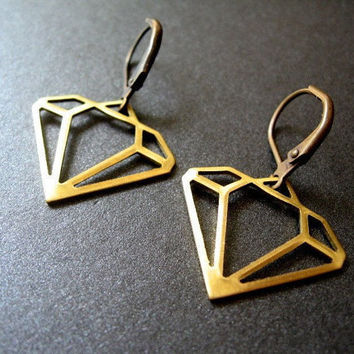 Diamond Earrings Brass Diamond Charms Antique Brass by Nomsa