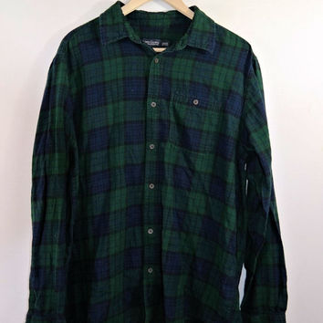 Green Navy Blue Plaid Oversized Hipster Grunge Flannel Shirt