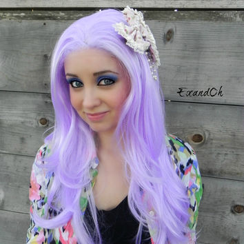 SALE // Lavender Light Purple / Long Wavy Lace Front Wig Full Body Curly