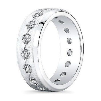 Mens 14k White Gold Diamond eternity wedding band 1.50 TCW G-VS2
