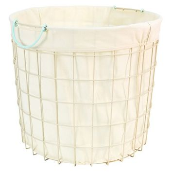 Circo Round Wire Basket With Liner   Bleached Aqua (Large)