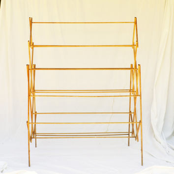Antique Clothes Drying Rack, Rustic Wood Laundry Stand, Herb Drying Rack, Linen Display Rack