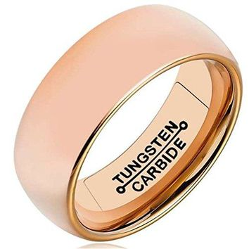 8mm Rose Gold Tungsten Carbide Ring Simple Domed Design Wedding Jewelry Thin Engagement Promise Band High Polished