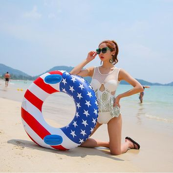 70/80/90cm Giant American Flag Women Double Swimming Ring Adult Inflatable Pool Float Water Party Toys Air Mattress Lounger Boia