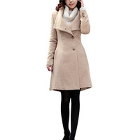 LEEZO Winter Women Coat Long Sleeve Wool Coat Loose Super Warm Woolen Coat