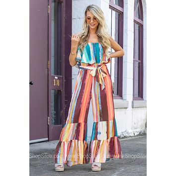 Beautifully Art Striped Tiered Jumpsuit