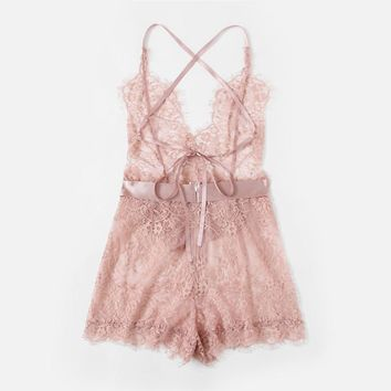 Pink Eyelash Lace One Piece