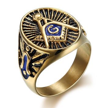 316L Stainless Steel Vintage Masonic  Freemason Ring Gold Color with Blue Enamel Punk Male Rings Fashion Jewelry