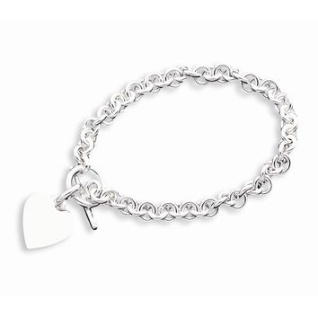 Sterling Silver 6mm Engraveable Heart Disc on Fancy Link Toggle Bracelet