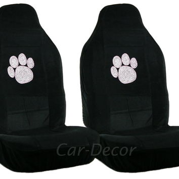 Rhinestone Paw Print Car Seat Covers 2 Pc
