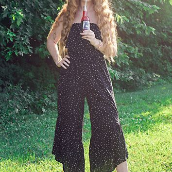 Women's Star Printed Jumpsuit with Off the Shoulder Neckline