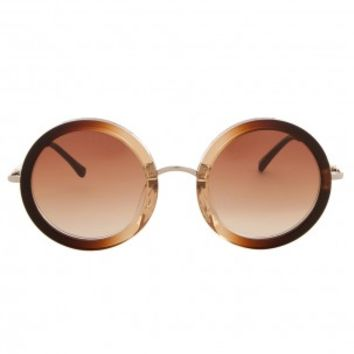 Boutique 1 - THE ROW - Brown Slvr & Brown Round Sunglasses | Boutique1.com