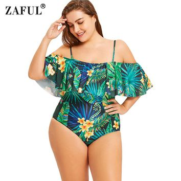 ZAFUL Plus Size Swimwear Tropical Leaf Floral Ruffle Women Swimsuit 2018 Sexy Swimwear Beach Wear Bathing Suit Swim Wear XXL