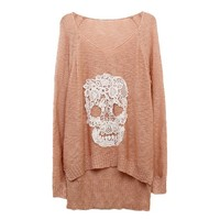 Buy Lace Batwing Knit With Skulls Motif on Shoply.