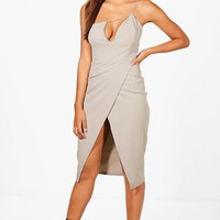 Olivia Strappy Wrap Skirt Midi Dress | Boohoo