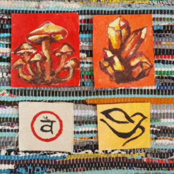 Sew on Patches festival gear: Psychedelic Mushroom, Citrine Cluster, Sacral Chakra, Peaceful Dove