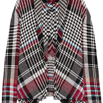 Oscar de la Renta - Fringed checked cotton-blend tweed jacket