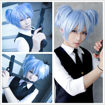 New And Cheap Cute 30cm Short Ice Blue Pigtails Cosplay Assassination Classroom Shiota Nagisa Anime Wig,Colorful Candy Colored synthetic Hair Extension Hair piece 1pcs WIG-575A
