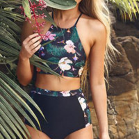 2018 Sexy High-Waisted Floral Bikini