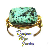 DWJ0562 Gorgeous African Turquoise Gemstone Gold Wire Wrap Ring All Sizes