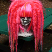 Hot Neon Pink Full Dread WIG Hair Art cyber goth punk hippie boho gypsy festival circus rave raver cosplay comic con anime japan hippy big