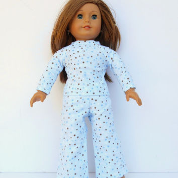 American Girl Doll Pajamas, Blue Polka Dot Pajamas, Winter Doll Pajamas, fits 18 Inch Dolls