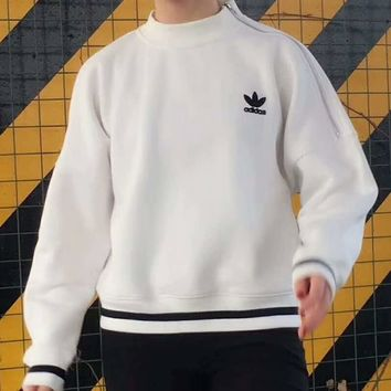 ADIDAS High Quality Trending Long Sleeve High Neck Print Pullover Sweater G-A-HRWM