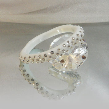 Vintage Lucite Bracelet. White. Flower. Rhinestones. Early Plastic. 60s Bangle.