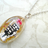 Dancing Retro Rose Robot Resin Nerd Necklace