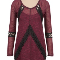 Long Sleeve Mitered Lace Tunic - Red