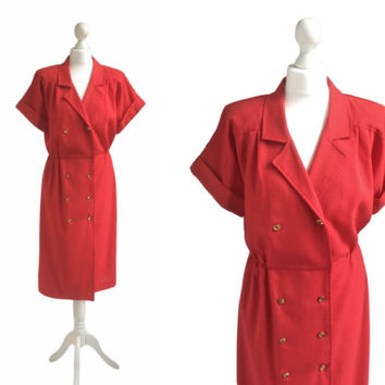 Tomato Red Vintage Shirt Dress - 80's Dress - Gilt Metal Button Double Breasted Dress