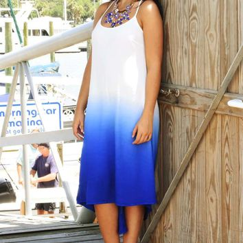 Fade For Me Dress: White/Blue Ombre