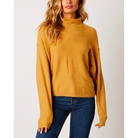 mock neck ribbed trim dropped shoulders sweater - honey