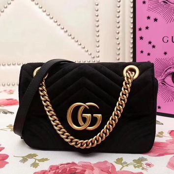 GUCCI Marmont Women Shopping Leather Metal Chain Crossbody Satchel Shoulder Bag Velv