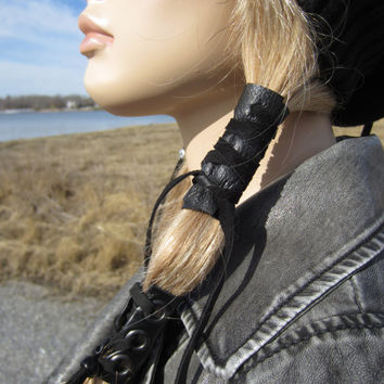 Black Leather Hair Wrap Ponytail Holder Hair Jewelry BOHO Bohemian Resort  Wear