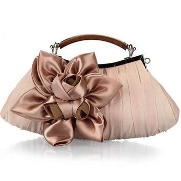 2017 Women's Flower Prom Party Evening Handbag Clutch Bag Wedding Satin Package AB@W