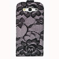 Light Pink Nude Black Lace Flip Case Cover with Credit Card/ ID Slot for Samsung Galaxy S3