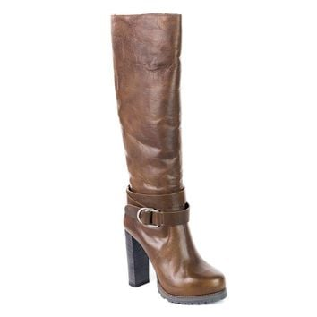Brunello Cucinelli Women's Brown Leather Fur Lined Knee High Boots