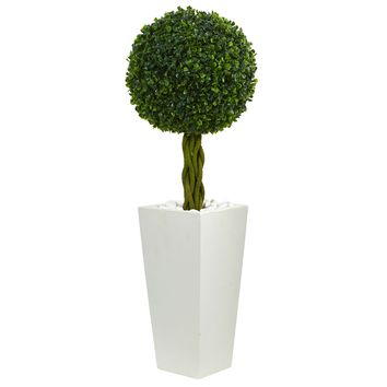 Artificial Tree -2.5 Foot Boxwood Ball Topiary Tree In White Tower Planters